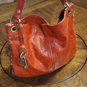 Burnt Red Fossil Studded Leather Tote
